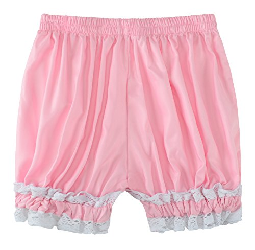- Sheface Women's Cotton Lace Hem Bloomers Lolita Shorts (Small, Pink)