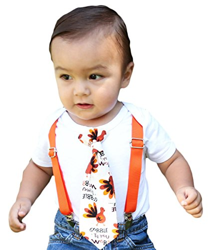 Noah's Boytique Baby Boy Thanksgiving Outfits with Turkey Tie and Orange Suspenders Gobble Til You Wobble Funny Outfit 3-6 Months
