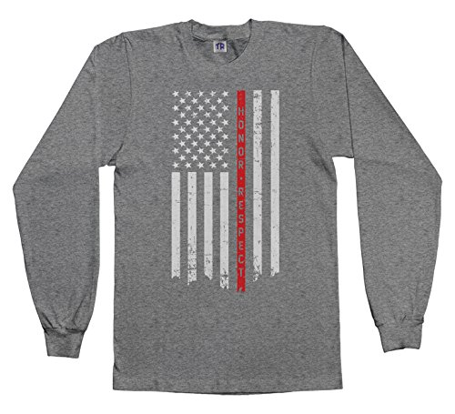 Threadrock Kids Honor & Respect Thin Red Line Flag Youth Long Sleeve T-Shirt XL Sport Gray
