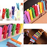 OUNONA 40pcs Color Wooden Clothespins Durable