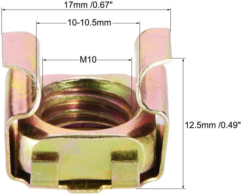 sourcing map M10 /écrous cage pour rack serveur acier au carbone zingu/é jaune 10Pcs