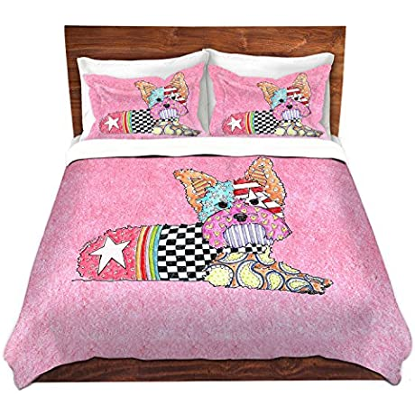 DiaNoche Designs Yorkie Dog Light Pink Unique Bedding Ideas Cover Brushed Twill Twin Queen 8 King Duvet Sham Set