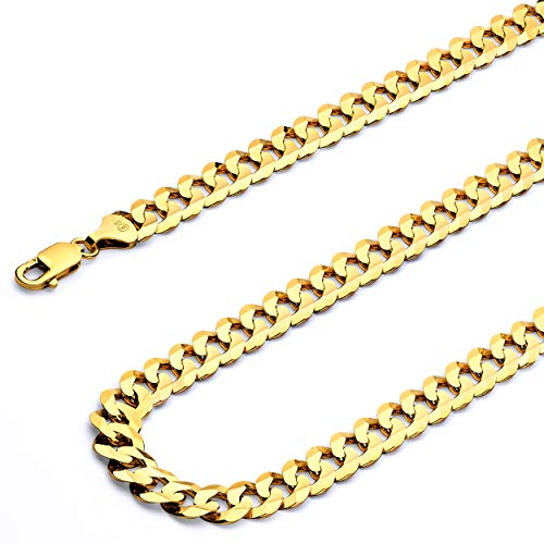 - 14k Yellow Gold Men's 4mm Cuban Concave Curb Solid Chain Bracelet with Lobster Claw Clasp - 7.5