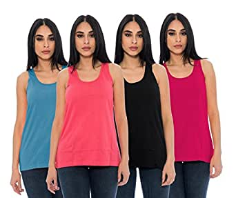 4-Pack Ladies Tank Tops Soft Cotton Comfort Stretchy Scoop Neck Loose Fit Swing