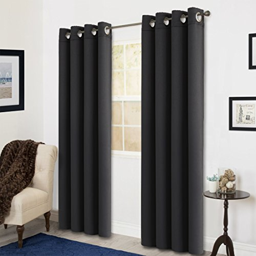 Room Darkening Soild Color Grommet Window Curtain For Living Room 3 Dimensions(52 by 95inch, Black)
