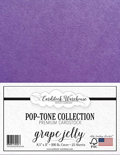 Jelly Cover - Grape Jelly Purple Cardstock Paper - 8.5 x 11 inch 100 lb. Heavyweight Cover -25 Sheets from Cardstock Warehouse
