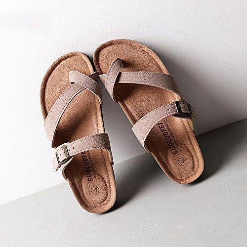 5 Shoes Anti beige cn40 Beach skid Cork Size Cool Female color Brown Haizhen Slippers Women Summer gray Brown uk6 Eu39 Flat brown For wECC4R