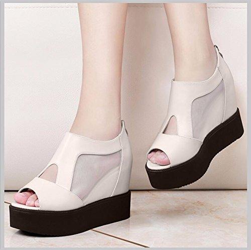 En High À Khskx Femme Un 9cm Pentes Chaussures Fils 37 Plat Avec Poisson printemps Fond Plus Nez De heel Unique Beige Femmes 47U7Yq
