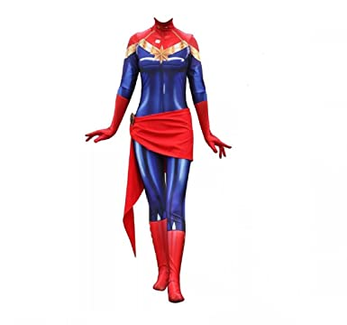 Joyfunny Superhero Suit Captain Halloween Costume Spandex Bodysuit Lady Zentai Onesie Female XS  sc 1 st  Amazon.com & Amazon.com: Joyfunny Lady Superhero Suit Captain Halloween Costume ...