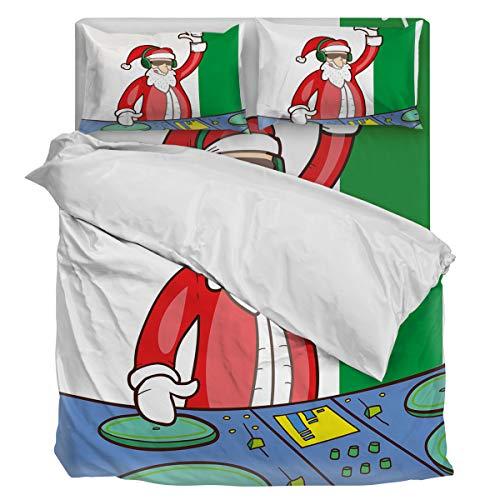 Bedding Duvet Cover Set Ultra Soft 4 Piece(1 Duvet Cover+1 Flat Sheet + 2 Pillowcases) DJing Santa Claus Twill Plush Comforter Cover Set Twin
