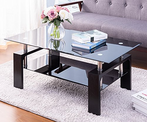 Merax Distinctive Design Coffee Tea Table with 2-Tiers Glass Top and Black Wooden Legs (Para Cristal Patio)