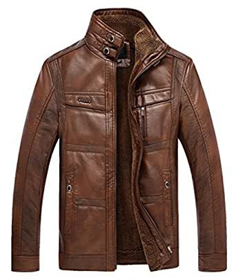 Chouyatou Men's Casual Stand Collar Zip-Up Faux Leather Jacket ...
