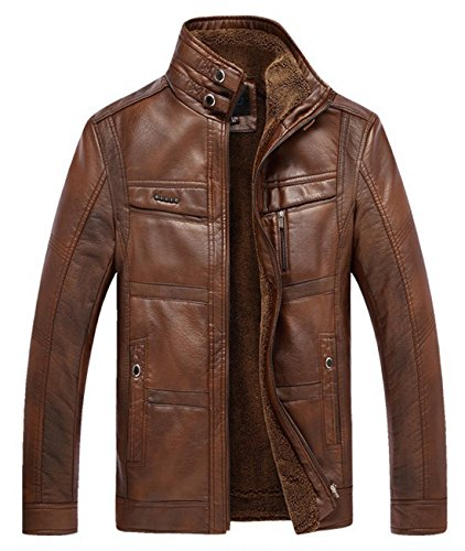 Chouyatou Men's Casual Stand Collar Zip-Up Faux Leather Jacket with Fleece Lined
