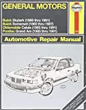 General Motors N-Cars Automotive Repair Manual: Models Covered : 1985 Thru 1987 Buick Somerset : 1985 Thru 1991 Pontiac Grand Am and Oldsmobile Cala (Haynes Automotive Repair Manual Series)