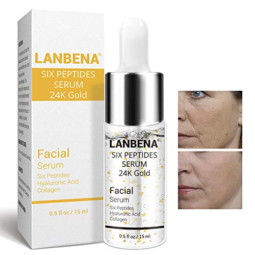 - Face Peptides Serum 24 K Gold Anti-Aging Serum Anti-Wrinkle Oil For Skin Lift Firming Care+Eliminate Fine Lines+Whitening Moisturizing