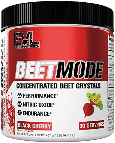Evlution Nutrition Beet Mode, Concentrated Beet Root Crystals, Nitric Oxide Booster, Natural Circulation, Immune Support, Antioxidants, Vegan, Non-GMO, Endurance, Superfood Black Cherry, 30 Servings
