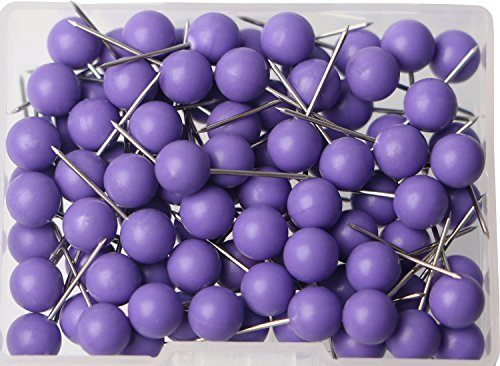 AnMiao Star 100pcs Map Tacks Push Pins 1/4 Inch Diameter Plastic Round Head and 7/16 inch Steel Needle Points,Used for Marking Craft Office and Home on Map,Bulletin Board or Cork boards.(Purple ()