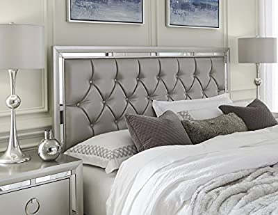 Global Furniture USA QB Riley Tufted Bed, Queen Silver