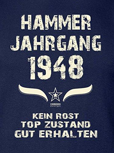 Geburtstags-Geschenk T-Shirt Herren Übergrößen Hammer Jahrgang 1948 Präsent zum 69. Geburtstag Freizeitlook Männer Farbe: navy-blau Gr: S