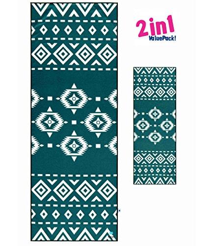 IUGA Printed Yoga Towel US (Green, Yoga Towel Set)
