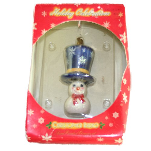 Christopher Radko Holiday Celebrations Snowman with Top Hat Christmas Ornament