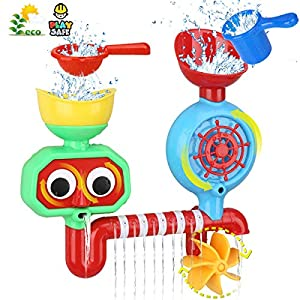 Bath Toys Toddlers Bathtub Toys Bath Wall Toy Waterfall Station Fill Flow and Spin Two Chambers with Two Stackable Cups Gift for Babies 1 2 3 Year Old Boys Girls Toys Non Toxic Gift Ideas