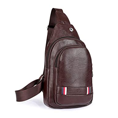 Amazon.com: Leather Mens Sling Bag Single Shoulder Bag Men ...