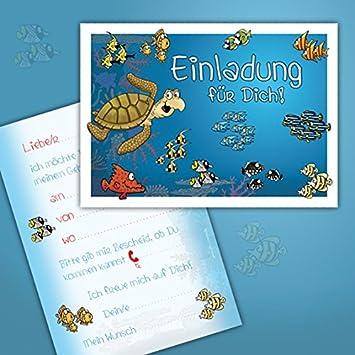 10 Einladungskarten Zum Kindergeburtstag U0026quot;Unter Dem Meeru0026quot; /  Schwimmbad, ...