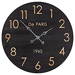 Stone & Beam Round Battery Operated Vintage Decorative Wall Clock - 23 Inch, Black Wood