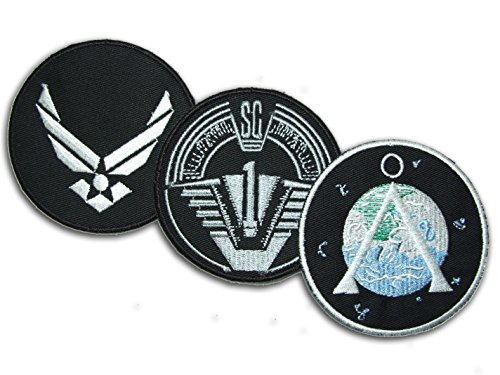 3 Main Team Prop Jacket VELCRO Patches: SG-1, Chevron & USAF (Chevron Patch Set)