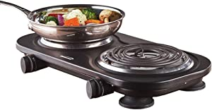 Brentwood Appliances TS-361BK electric double burner, med, Black
