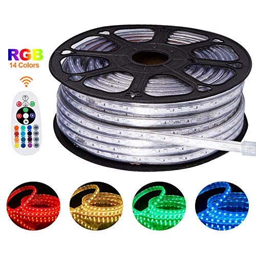 Shine Decor 8x15.5mm Multicolor LED Strip Lights, 150ft Color Changing RGB, 110V Flexible Waterproof Rope Lights with Dimmable IR Controller, for Indoor Outdoor Commercial Lighting Decoration