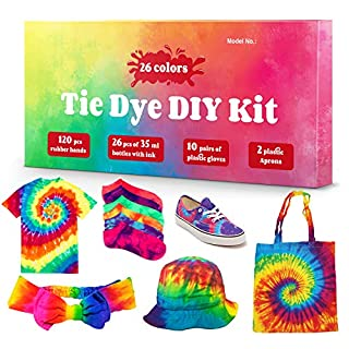 DIY Tie Dye Kits, 26 Colors Fabric Dye Kit for Kids, Adults and Groups, Non-Toxic Tie Dye Supplies for Party, Gathering, Festival, User-Friendly, Add Water Only Perfect for Thanksgiving Christmas