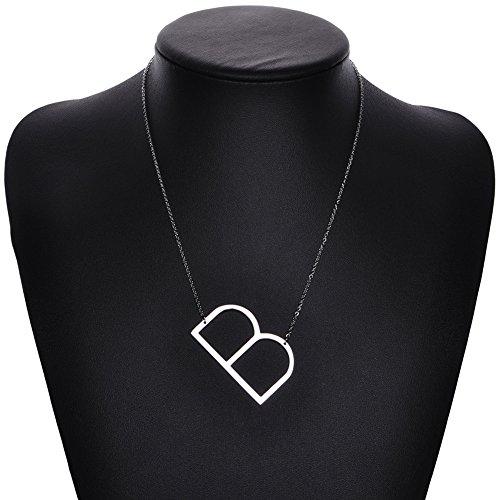 Zealmer Script Initial Necklace Titanium Steel Letters Necklace Pendant B Silver Color Metal (Letter B Costumes)