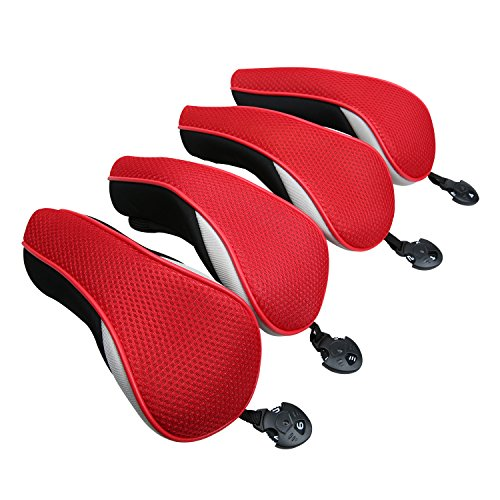 - Golf Hybrid Club Head Covers Set of 4 with Interchangeable No. Tag UT Cover (Red)