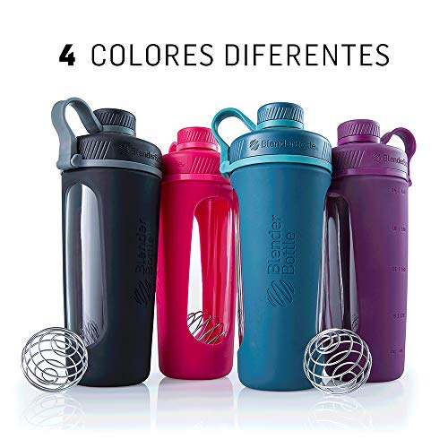 BlenderBottle Radian Glass Shaker Bottle, Black, 28-Ounce