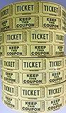 Ticket Guru-Raffle Tickets - (4 Rolls of 2000 Double Tickets) 8,000 Total 50/50 Raffle Tickets {Choose color combo below} ((4) YELLOW rolls)