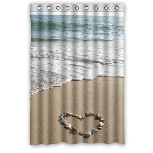 Unique And Generic Wide Love Beach Shower Curtain Custom Printed Waterproof Fabric Polyester Bath 48quot