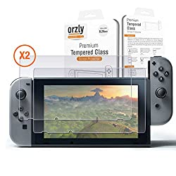 Nintendo Switch Screen Protector TWIN PACK by Orzly - Transparent Super Tough Protective Oleophobic Screen Guards - 2x Solid Premium Tempered Glass Screen Protectors for Nintendo Switch Tablet Screen