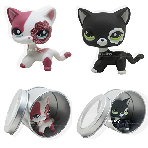 2pcs #2249 #2291 Rare Littlest Pet Shop Pink White Sparkle Short Hair Cat Kitty