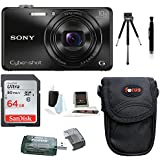 Sony Cyber-shot DSC-WX220 18.2 MP Digital Camera (Black) with 64GB SDHC Card and Deluxe Accessory Bundle