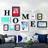 Home@Wall photo frame Photo Frame Sets,Living Room Photo Wall Frame Wall Creative Combination Sofa Background Frames Set Of 9 ( Color : D , Size : 9frames/16280CM )