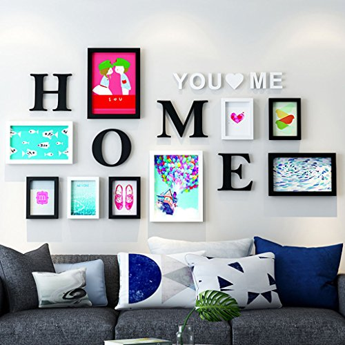 Home@Wall photo frame Photo Frame Sets,Living Room Photo Wall Frame Wall Creative Combination Sofa Background Frames Set Of 9 ( Color : D , Size : 9frames/16280CM ) by ZGP
