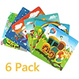 Meshion Wooden Jigsaw Puzzles With Storage Tray Vehicle Set Kids Toys Preschool Educate Learning Game For 3-5 Years Old Child,Boys,Girls,Pack Of 6(Truck,Train,UFO,Excavator,Steamship,School bus)