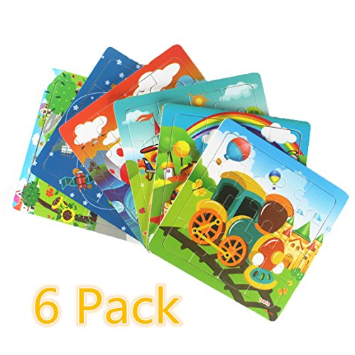 Meshion Wooden Jigsaw Puzzles With Storage Tray Vehicle Set Kids Toys Preschool Educate Learning Game For 3-5 Years Old Child,Boys,Girls,Pack Of 6(Truck,Train,UFO,Excavator,Steamship,School bus) (Childrens Learning Jigsaw)