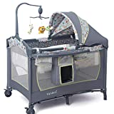 Baby Cot Bed with Changer KLI Newborn 0-3 Years Portable Crib Bedding Home and Travel Cot Folding Baby Crib Small Game Bed Playpen Playard Portable Bouncer Baby Infant Newborns Child Bed,Lion