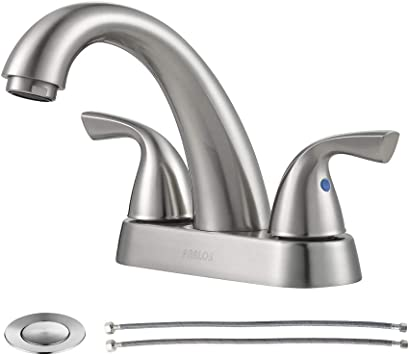 Parlos 2 Handle Bathroom Sink Faucet With Drain Assembly And Supply Hose Lead Free Cupc Lavatory Faucet Mixer Double Handle Tap Deck Mounted Brushed Nickel 13598 Amazon Com