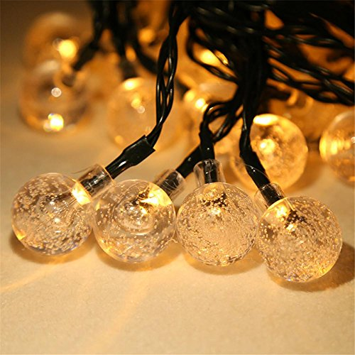 HomJo LED Solar Light String 30LED Bubble Beads Decorative Lights Outdoor waterproof Christmas Courtyard Decorative Lights , 2