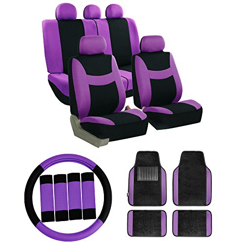 (FH Group FB030115 Combo Set: Light & Breezy Cloth Seat Covers (Airbag & Split Ready) W. FH2033 + F14407 Floor Mats, Purple/Black-Fit Most Car, Truck, SUV, or Van)