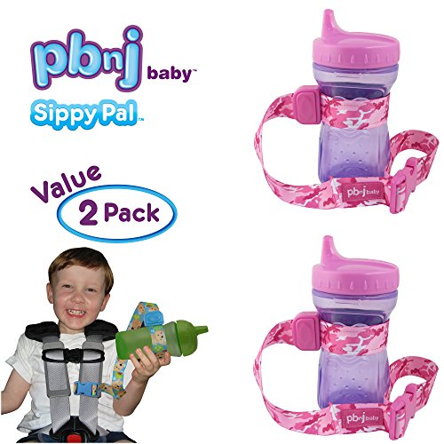 PBnJ Baby SippyPal Sippy Cup Holder Strap Leash Tether (Pink Camo 2-Pack)